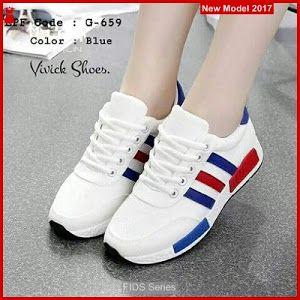 Fids055 Sepatu Wanita Strip Biru Modern Sepatu Wanita Sepatu
