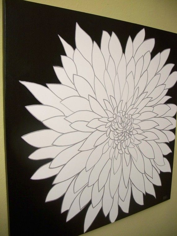 Pin By Kelly Heath On Artsy Craftsmanship Black And White Painting Painting Flower Painting