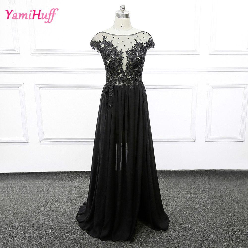 Sexy black lace evening dress backless robe de soiree split illusion