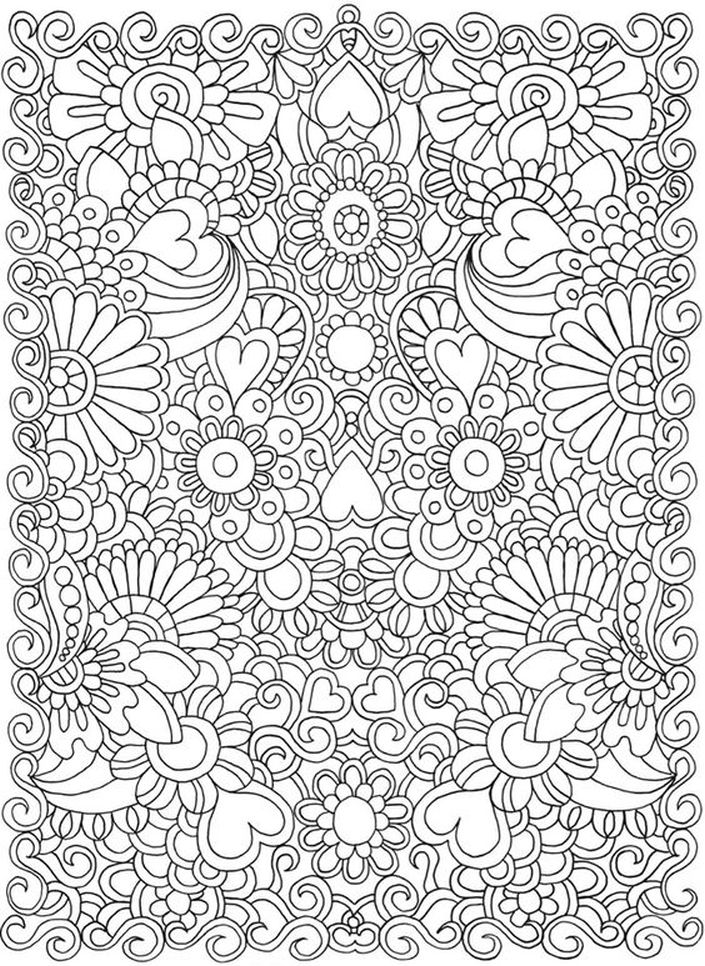 Hard doodle of heart coloring pages for grown ups for Abstract heart coloring pages
