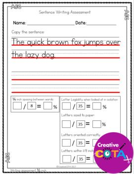 abc numbers and sentence handwriting assessment occupational therapy all things educational. Black Bedroom Furniture Sets. Home Design Ideas
