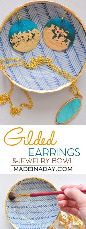 DIY Gold Gilded Earrings &  Jewelry Bowl, Glam up some inexpensive earrings…