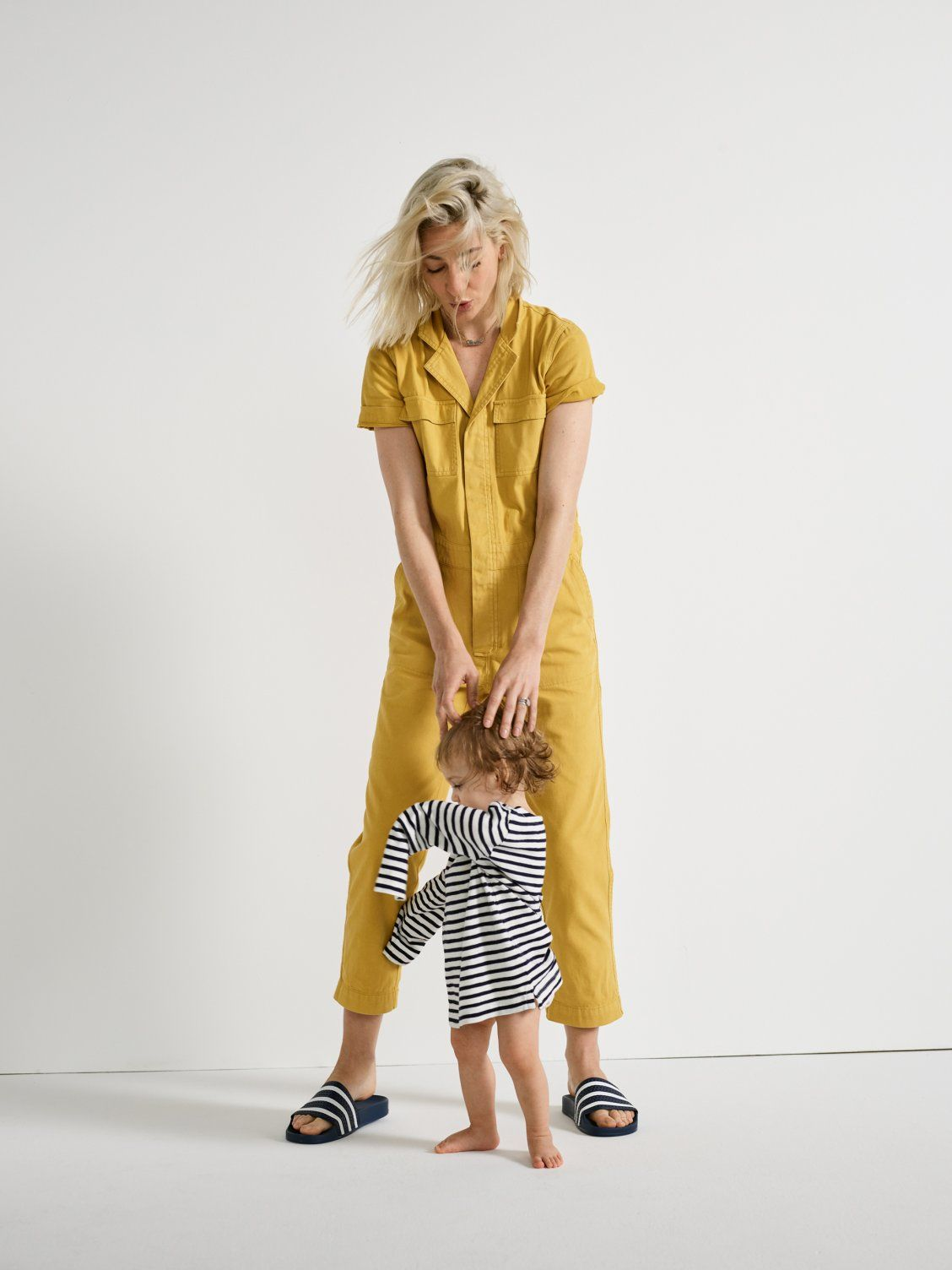 official photos ba3fa 49eaa our friend sarah wears madewell short-sleeve coverall jumpsuit + adidas  adilette slides our little friend june wears madewell x crewcuts kids  strawberry ...