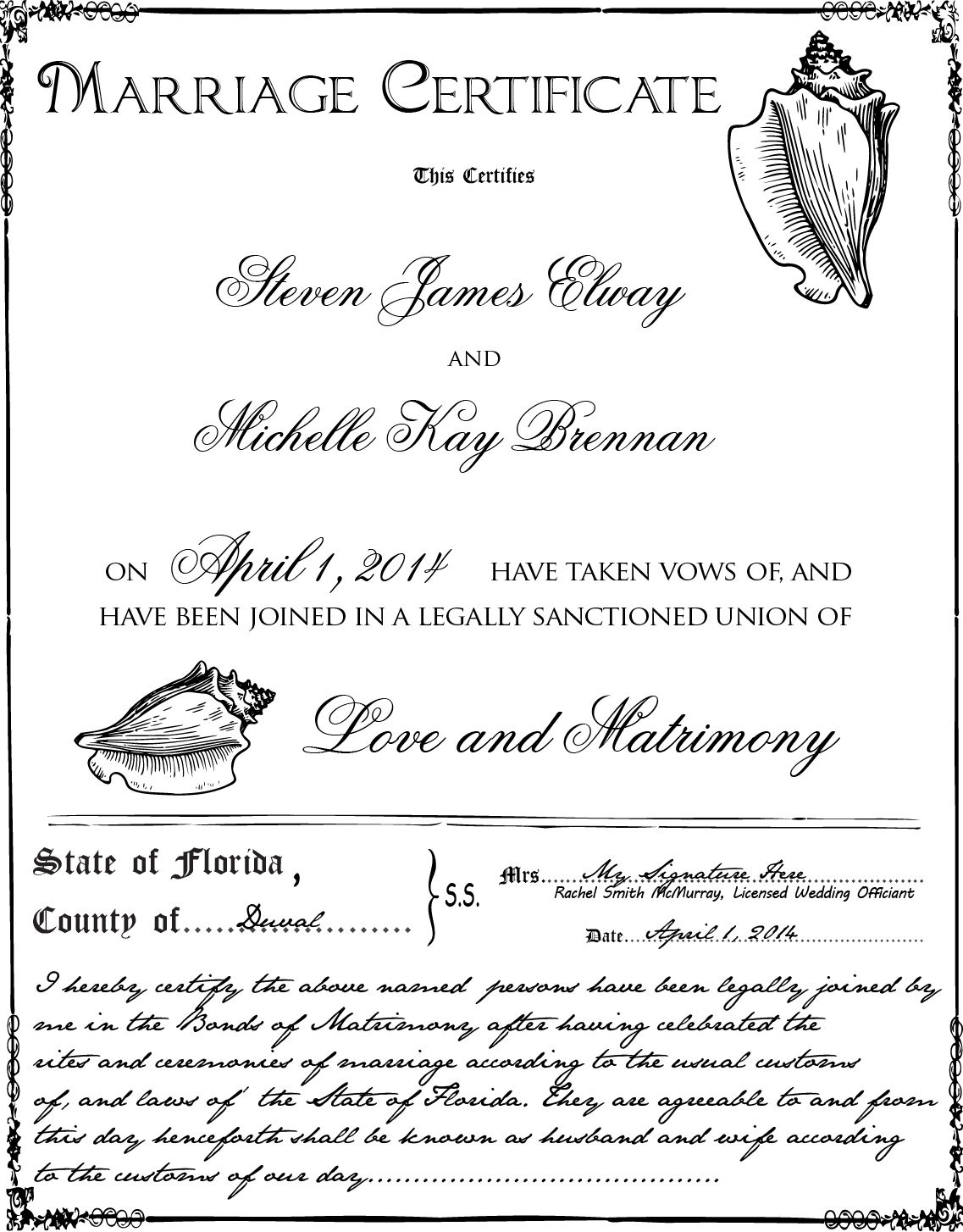 Marriage Certificate  Conch Shells  Wedding Ceremony