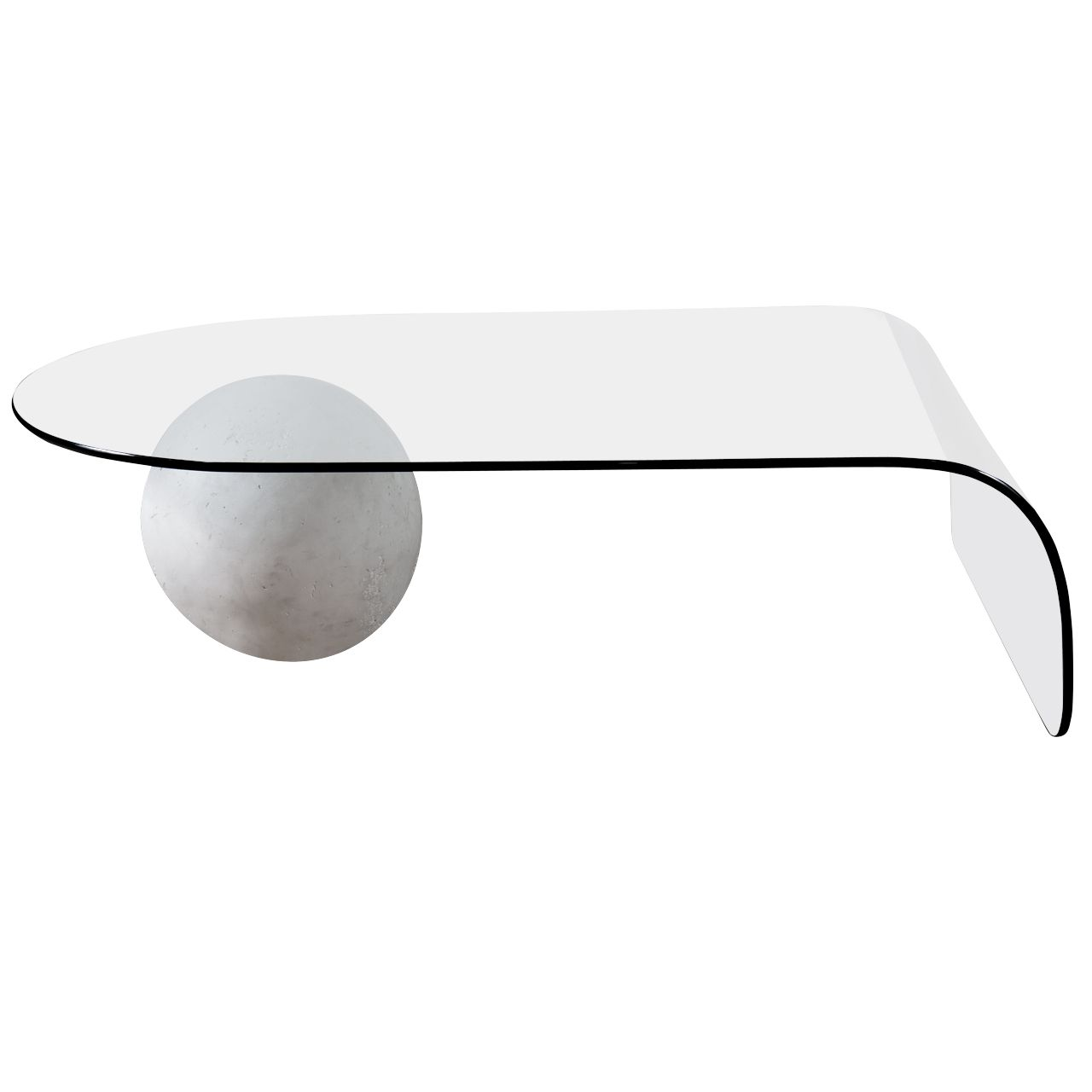 Glass Cocktail Table With Plaster Ball Base Modern Glass Coffee