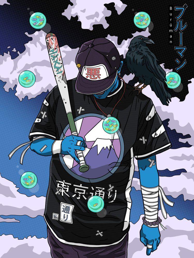 Image Of Street Baseball Player Buruman Series Concept Art Characters Samurai Art Cyberpunk Art