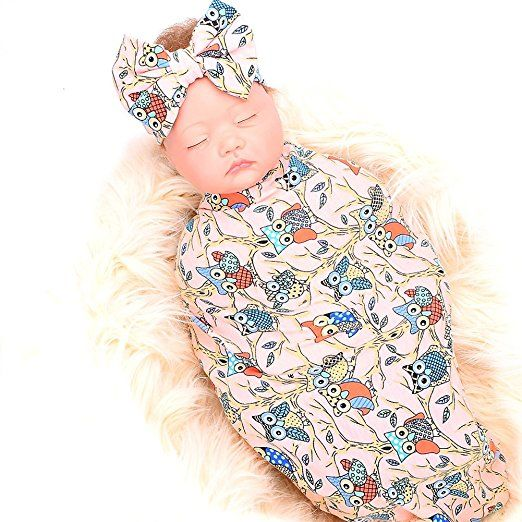 Newborn receiving blanket headband set owl print baby swaddle girl blankets  galabloomer 34d2568db