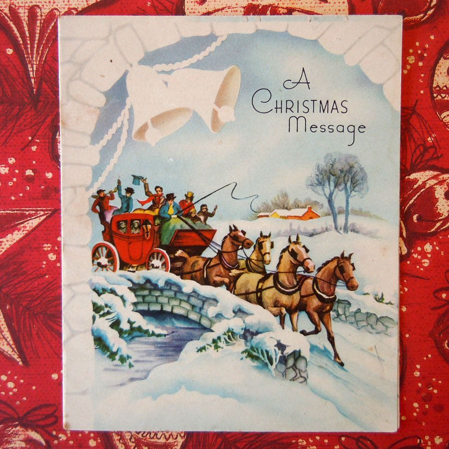 Vintage Christmas Greeting Card Snow Scene Old Fashioned Carriage