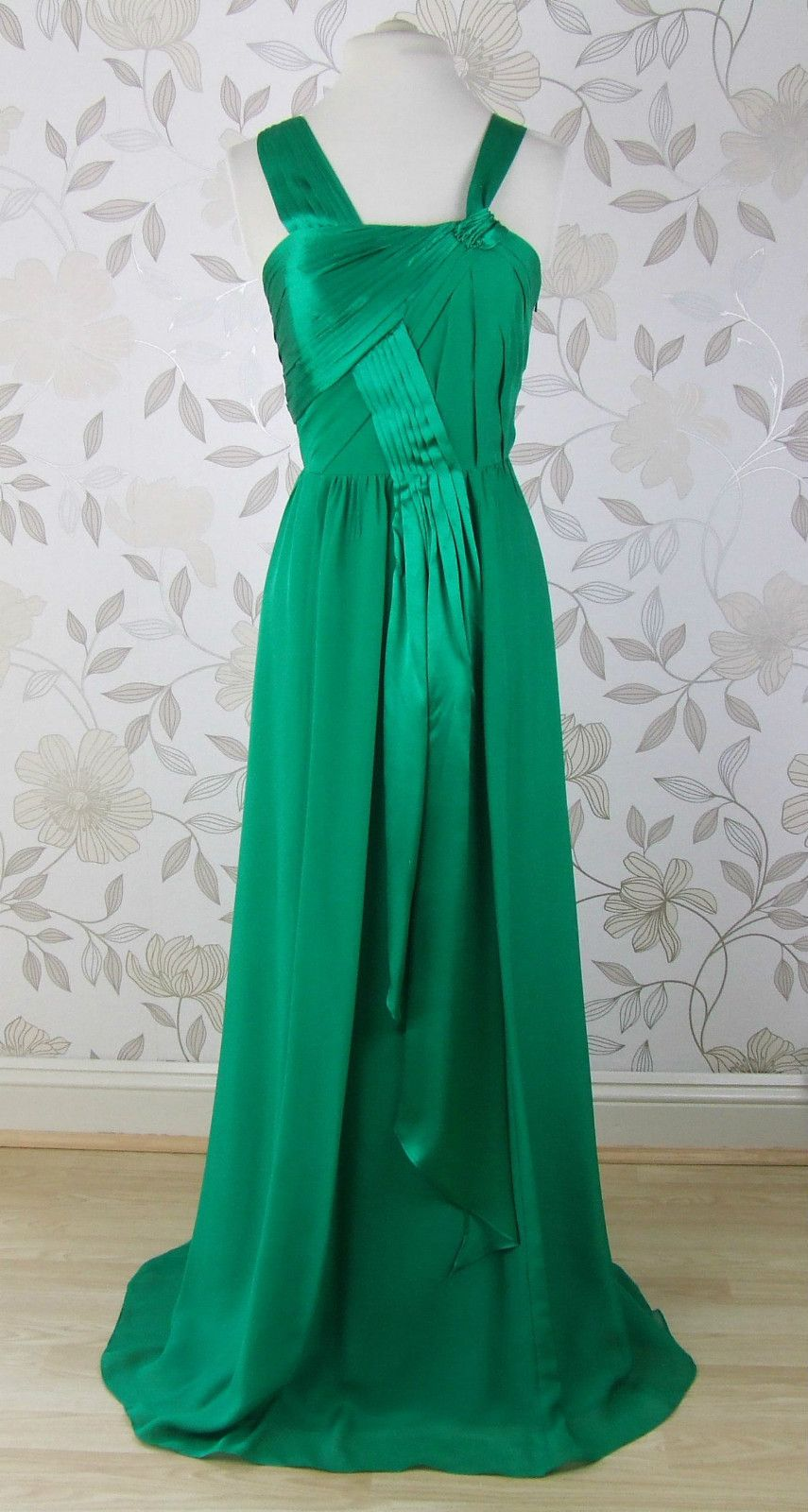 Gorgeous BNWT Monsoon EMERALD Green Silk Evening Long Dress Size 12 ...