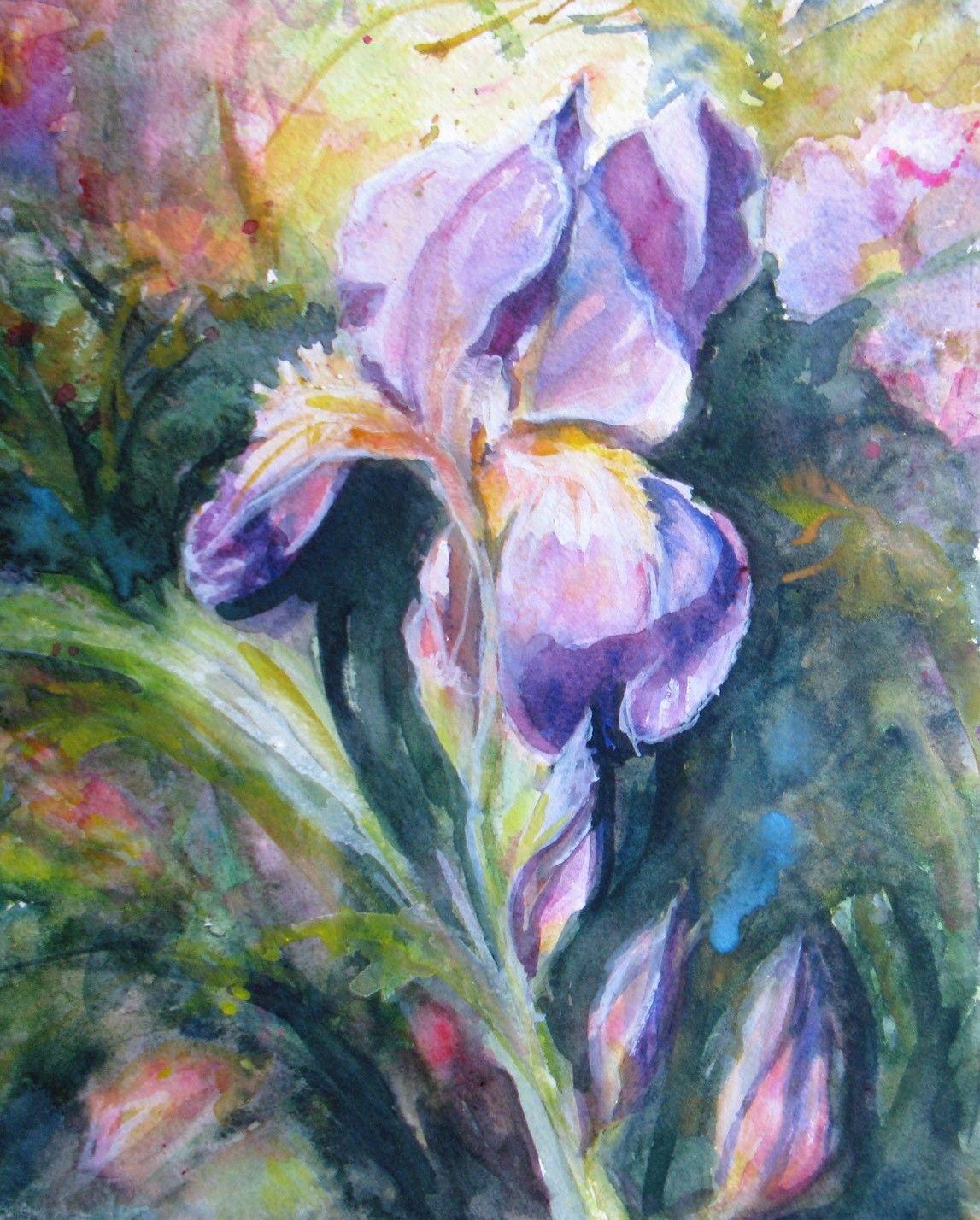 abstract iris Original Watercolor painting flowers garden ...