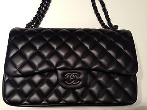 aad3722e0a3e34 Chanel Jumbo Black on Black Hardware Lambskin Flap Bag Limited So Black 2  55 | eBay