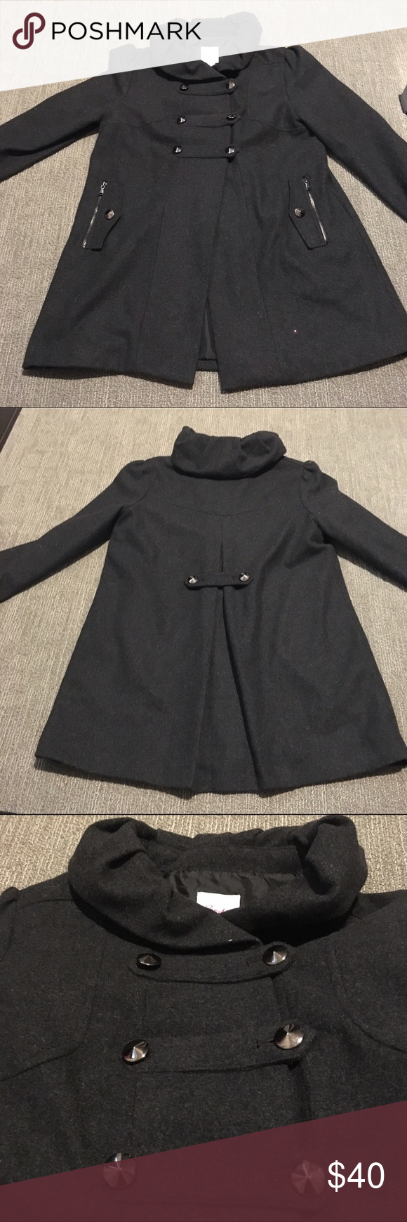 NWOT Candie's Military Pea Coat NWOT Candie's Military Pea Coat. Size L. Never worn. Perfect condition. Three button closure. Zippered pockets. Pleated in the back. Ruffled collar and shoulders. Gray/Silver Hardware. Candie's Jackets & Coats Pea Coats