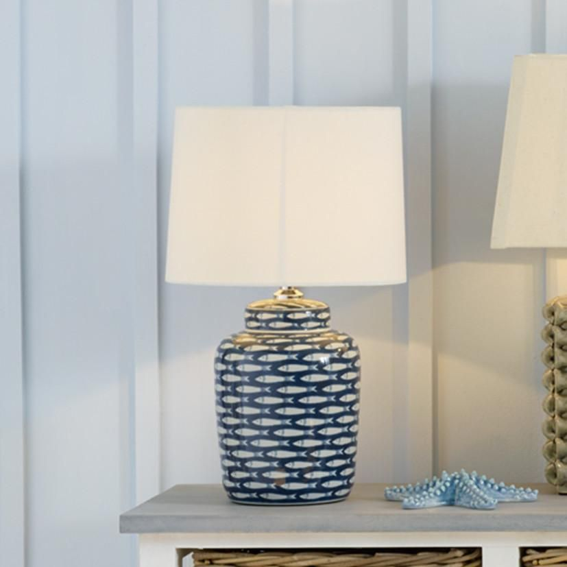 Blue And White Ceramic Fish Table Lamp Unusual Table Lamps Blue And White Lamp Blue Lamp Base