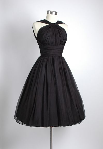 HEMLOCK VINTAGE CLOTHING : 1950's Black Gathered Chiffon Party Dress  Loving 50's style party dresses!