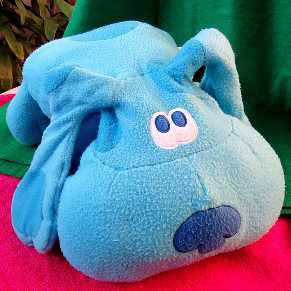 blues clues green puppy plush. Large Blues Clues Plush Pillow Pet Blue Dog Puppy 1999 28x22 TV Bedtime #CrownCrafts Green -