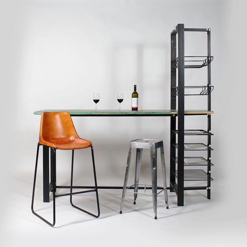 bar style industriel en bois color recycl meuble bar pour cuisine pinterest meubles. Black Bedroom Furniture Sets. Home Design Ideas
