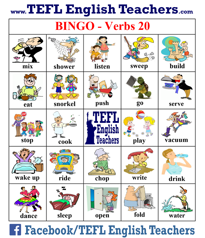 Tefl English Teachers Bingo Verbs Game Board 20 Of 20