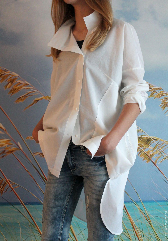3ed07fe65c59f61 Блузки ручной работы. Рубашка женская, белая, хлопок. NatashaPankevich  (uNatu). Ярмарка Мастеров. Свободный размер, купить рубашку