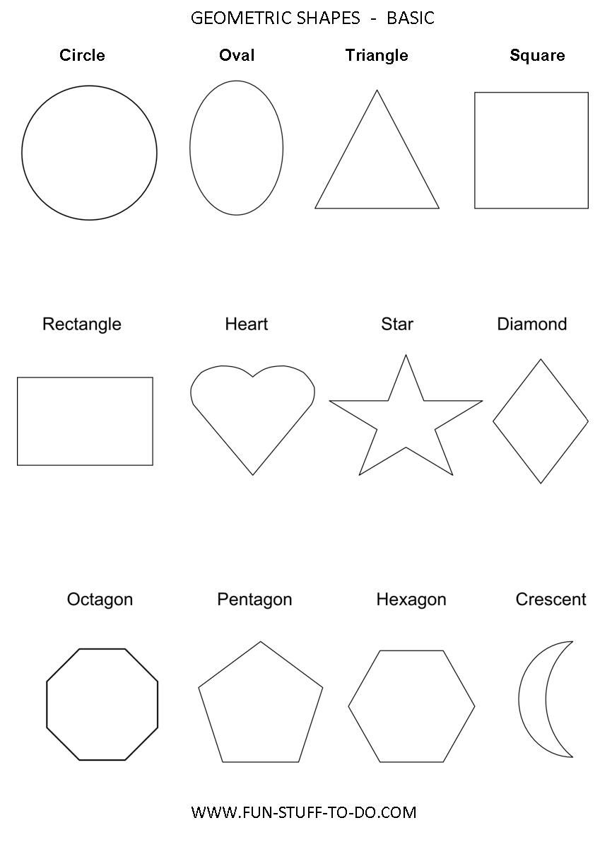 Math: Geometric Shapes Worksheets, can use as a visual for