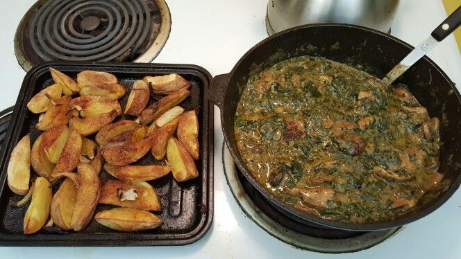 Dinner-chicken and shrimp fried and then spinach, mushrooms & mushroom soup skillet bake. Baked Red potatoes 1/4 cut. Holla!