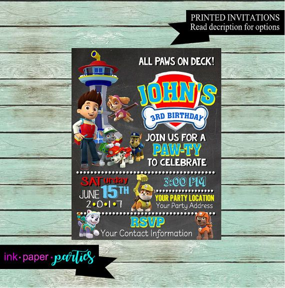 Paw Patrol Birthday Party Chalkboard Invitation  Kids Birthday