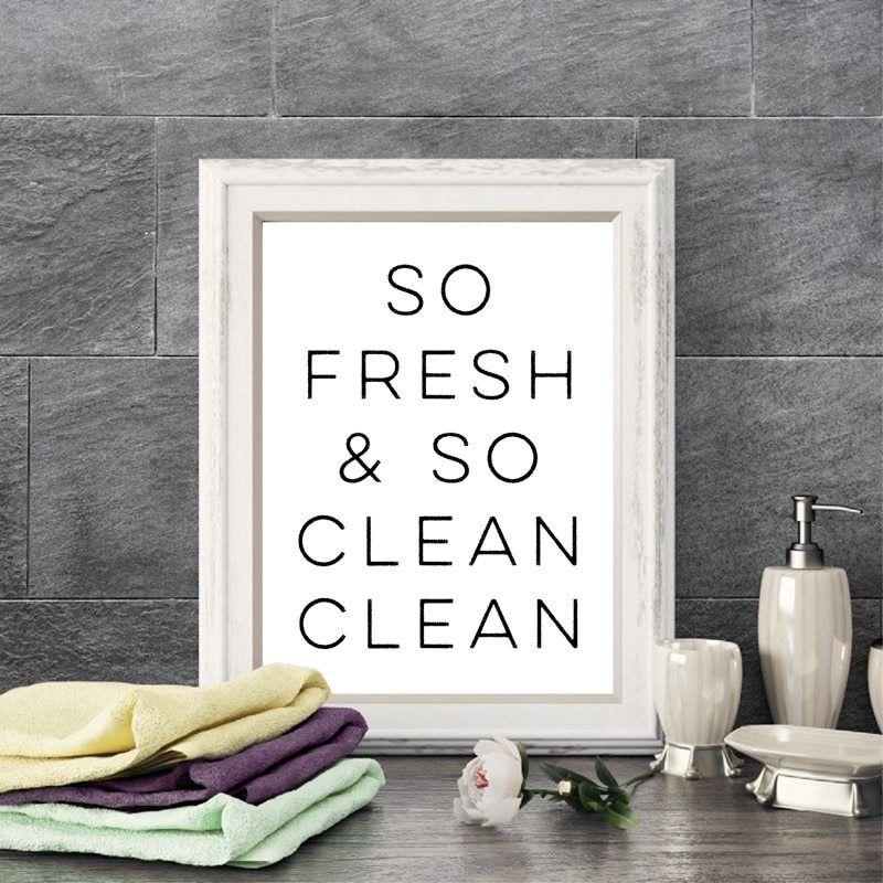 So Fresh And So Clean Bathroom Wall Art Canvas Prints Modern Minimalism Bathroom Canvas Painting Wall Picture Home Decor In 2020 Bathroom Canvas Art Painting Bathroom Wall Art Canvas Prints