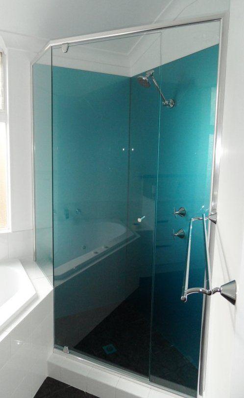 Great Looking Shower Splashback In Acrylic Painted In Metallic Blue Installed By Ozziesplash Acrylic Shower Walls Glass Shower Wall Log Home Bathrooms
