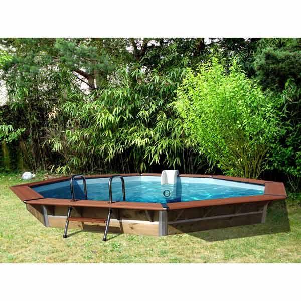 piscine hors sol bois octogonale d450xh129cm premium water clip maison - Piscine Octogonale Bois Hors Sol