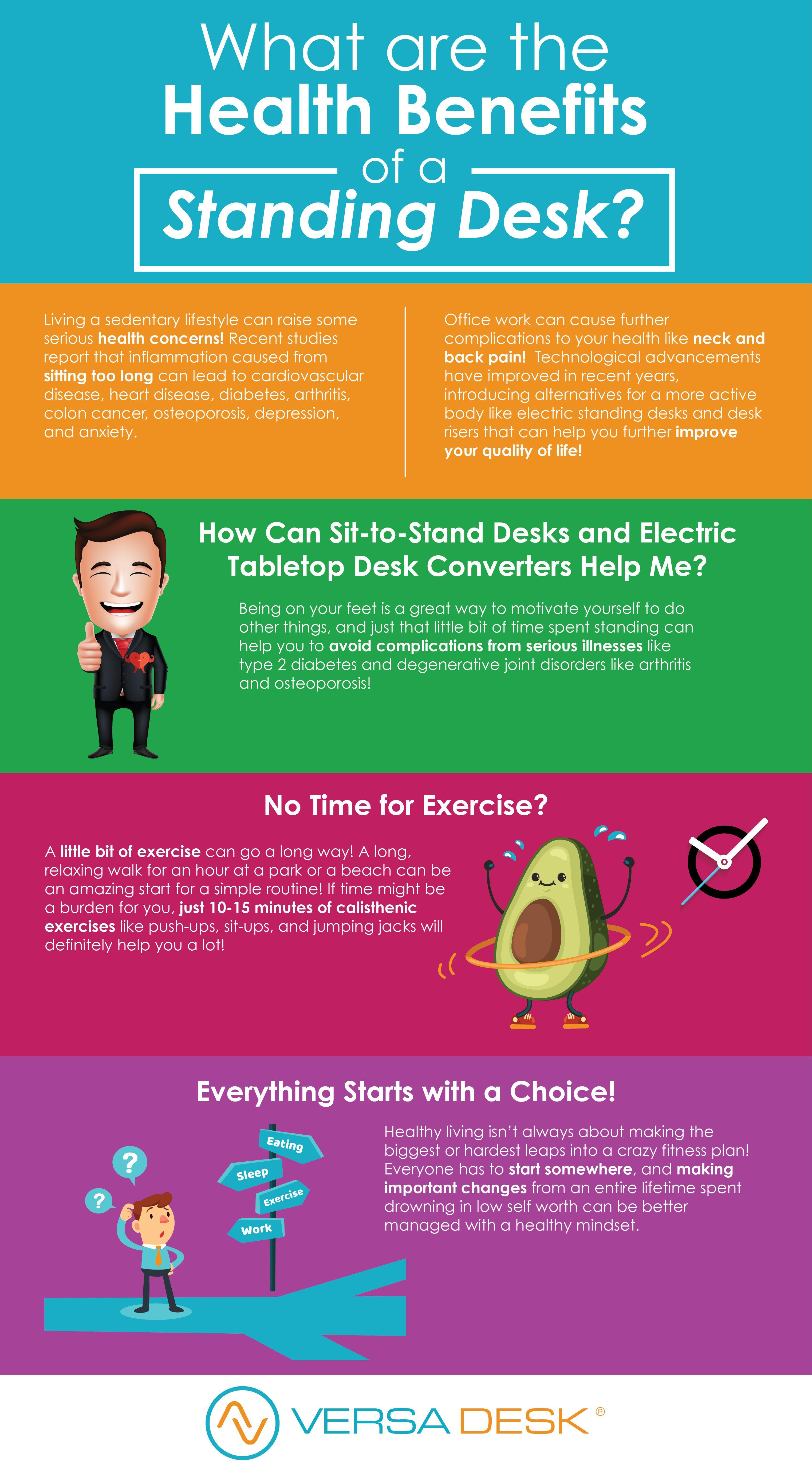 The Top Benefits Of A Standing Desk Versadesk Standing Desk Benefits Corporate Wellness Office Exercise