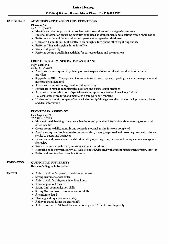 Front Desk Associate Resume Beautiful Front Desk Assistant Resume Samples