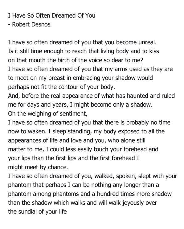 J'ai Tant Reve De Toi : Rêvé, Often, Dreamed, Robert, Desnos, Romantic, Words,, Poem,