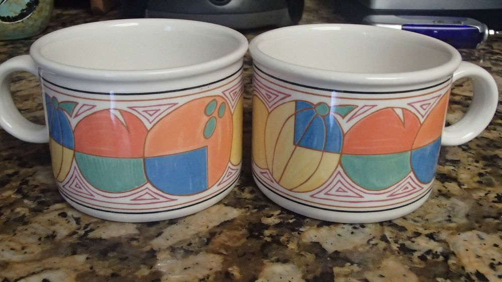 """Midwinter Stonehenge Clarice Cliff """"Melons"""" Art Deco Modern Wedgewood China Cups #wedgewood"""