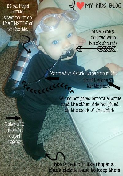 DIY Baby Scuba Diver Costume! Less than $5 to make - 18 month halloween costume ideas