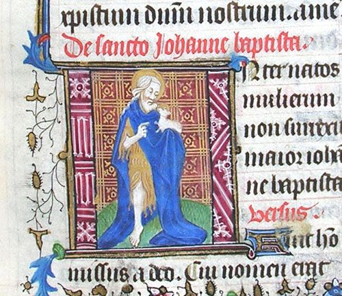 Initial I incorporating St John the Baptist holding a lamb. From f.165r of MS N.24, Lady Margaret Beaufort's Book of Hours (French, c.1440-5).