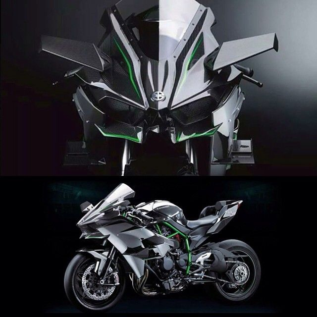 Front View Of The Kawasaki Ninja H2R Looking Like A Mecha