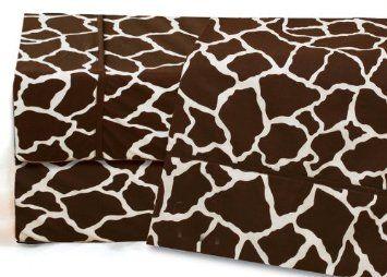 Amazon.com: Queen Giraffe Print Cotton Sheet Set: Home & Kitchen