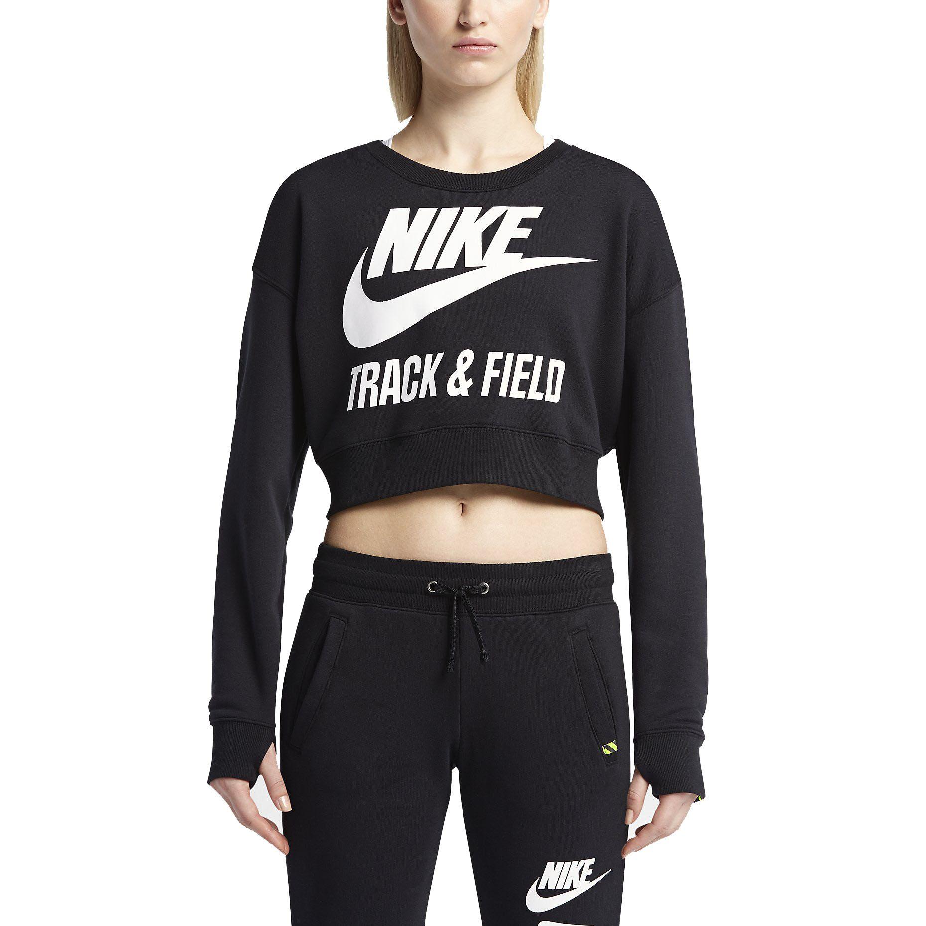 Women's Top - Nike Track and Field Crew - Black/Black/Black/Black
