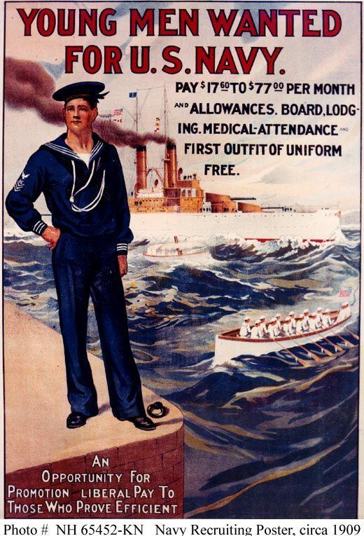 Navy Navy Recruitment Poster 1909 Pre World War I World War I