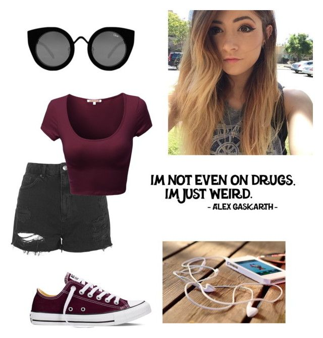 """""""Sorry if it's bad """" by lori-sky ❤ liked on Polyvore featuring мода, Topshop, Converse, Quay, women's clothing, women's fashion, women, female, woman и misses"""