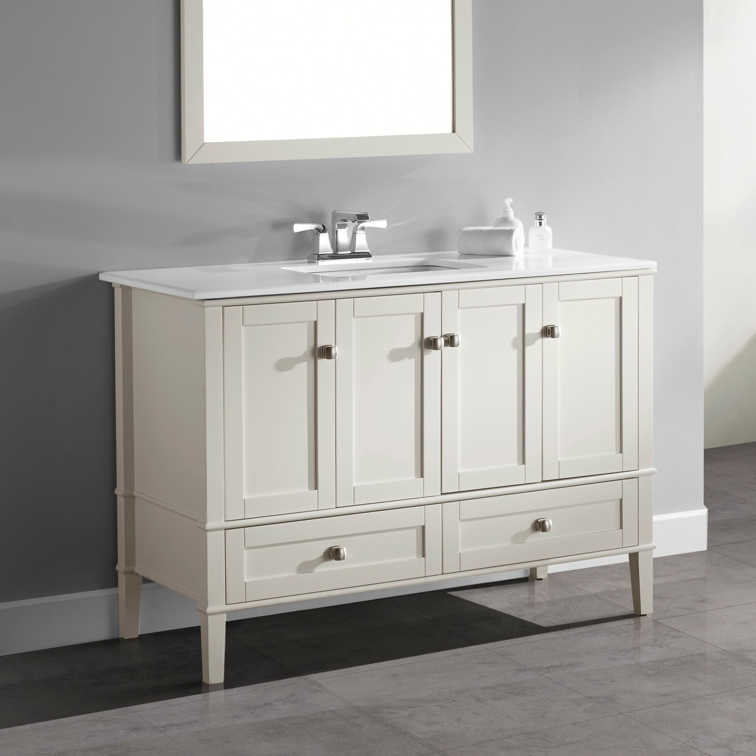Wyndenhall Windham 48 Inch Contemporary Bath Vanity In Soft White