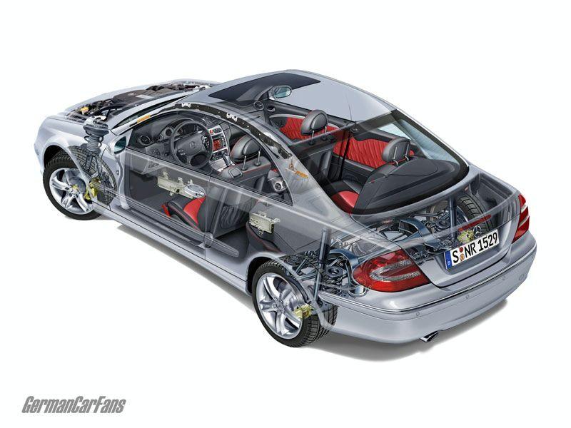 Mercedes-Benz CLK (C209) cutaway drawing.