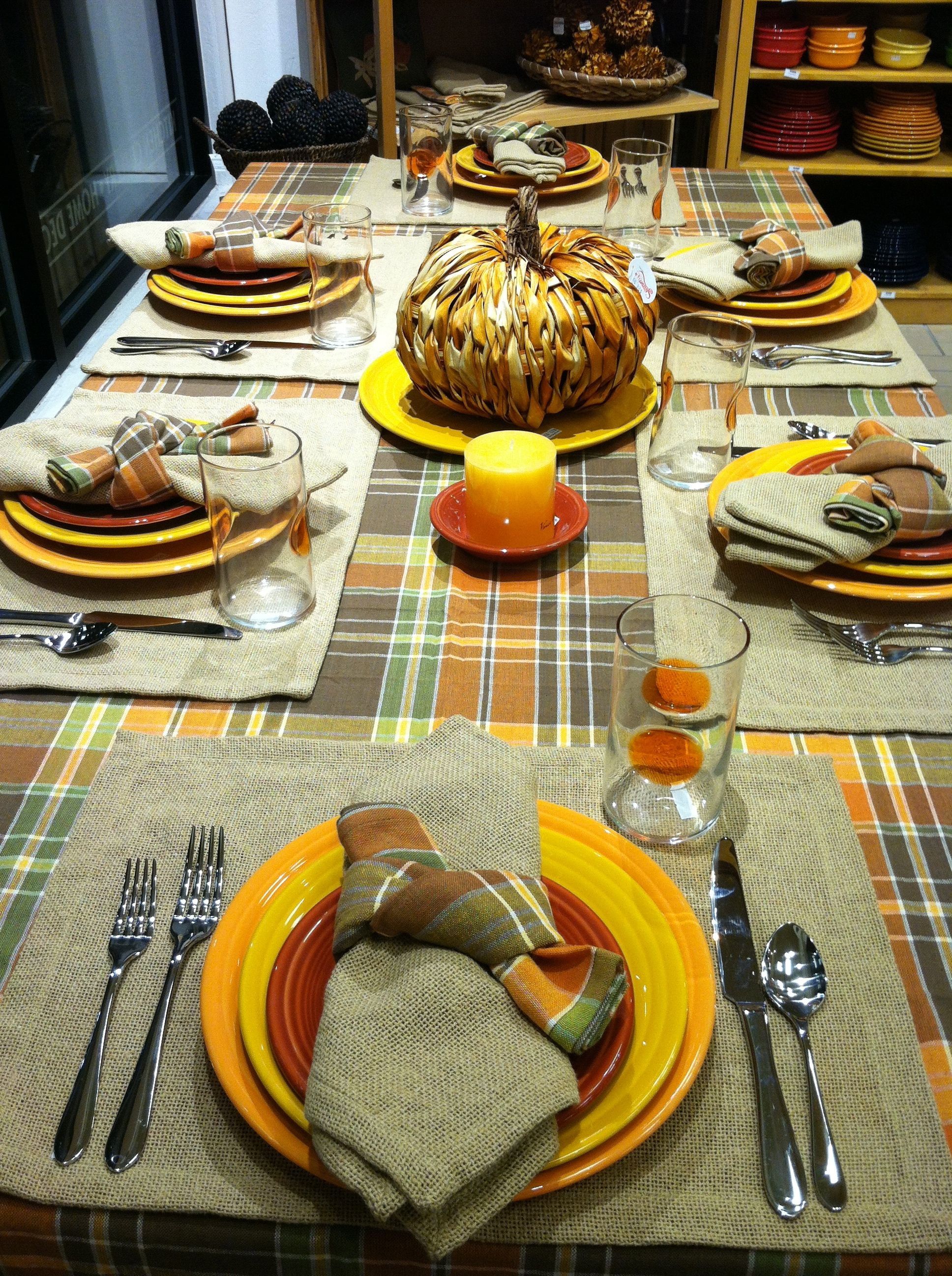 Fall Table Using Burlap Linens, Colorful Fall Linens; And Tangerine,  Marigold, And Paprika Fiesta®. Marigold Is A Retired Color.