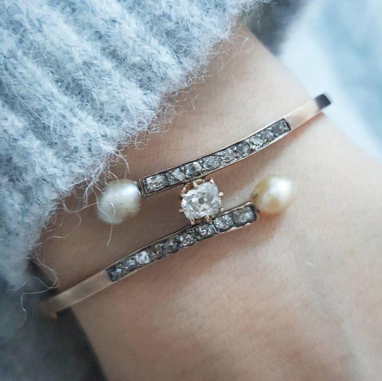 Antique diamond bangle diamond bracelet victorian bangle