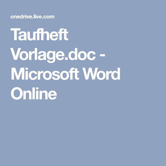 Taufheft Vorlage.doc - Microsoft Word Online | Taufe in 2018 ...