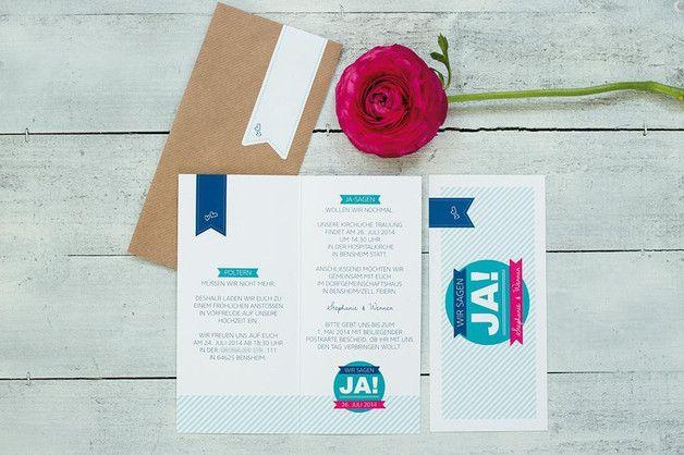 """Einladungskarten - Musterkartenset Hochzeitseinladung """"Pink &... - ein Designerstück von schneidersfamilybusiness bei DaWanda"""