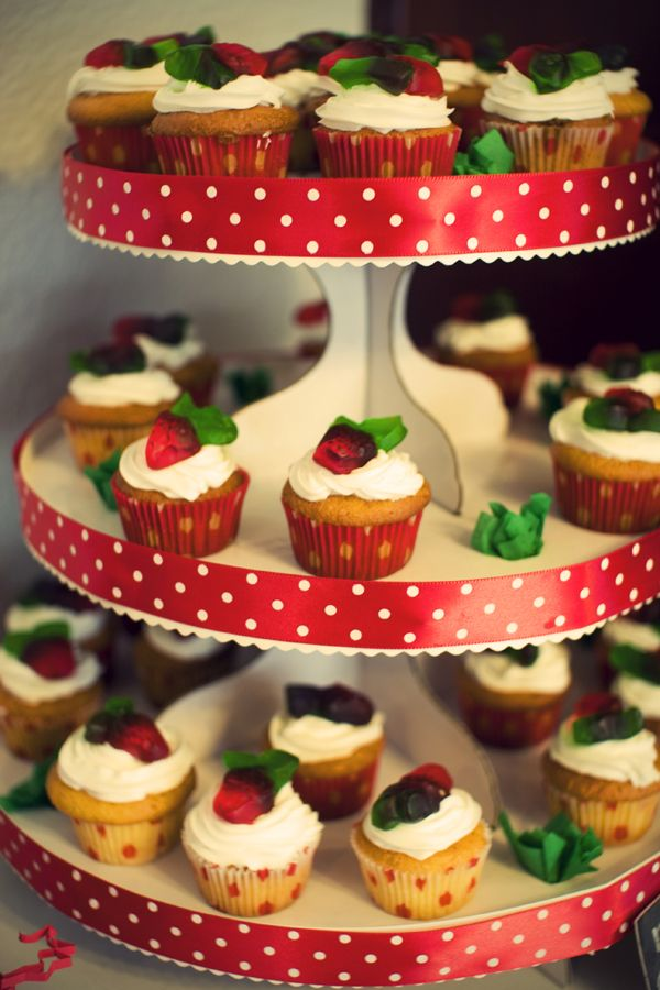 DIY cupcake tower. Could make a tower out of my old strawberry shortcake plates. They're not being used.