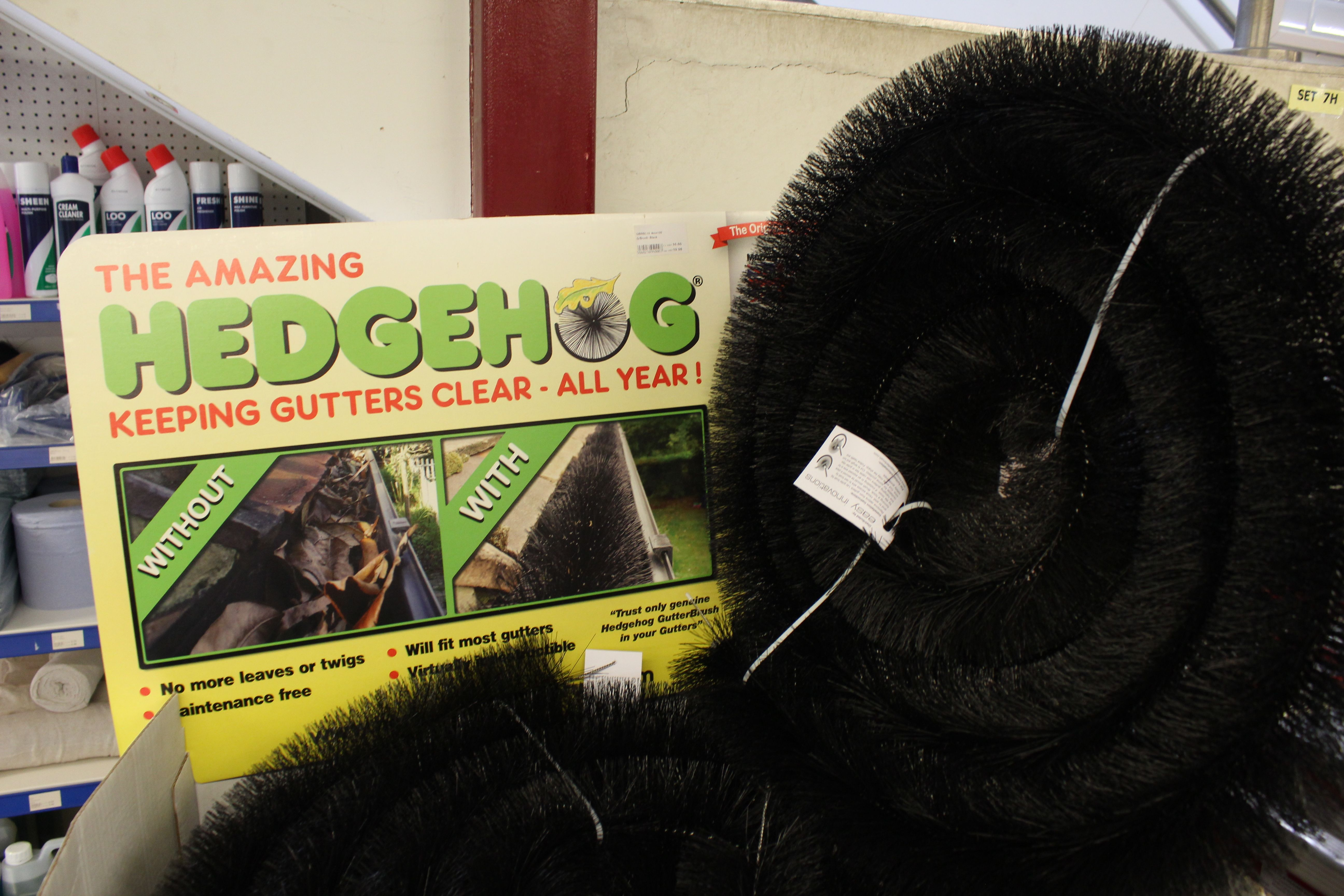 The amazing Hedgehog keeps gutters clean all year! Available in store at Henlow Building Supplies on Stratton Business Park in Biggleswade.