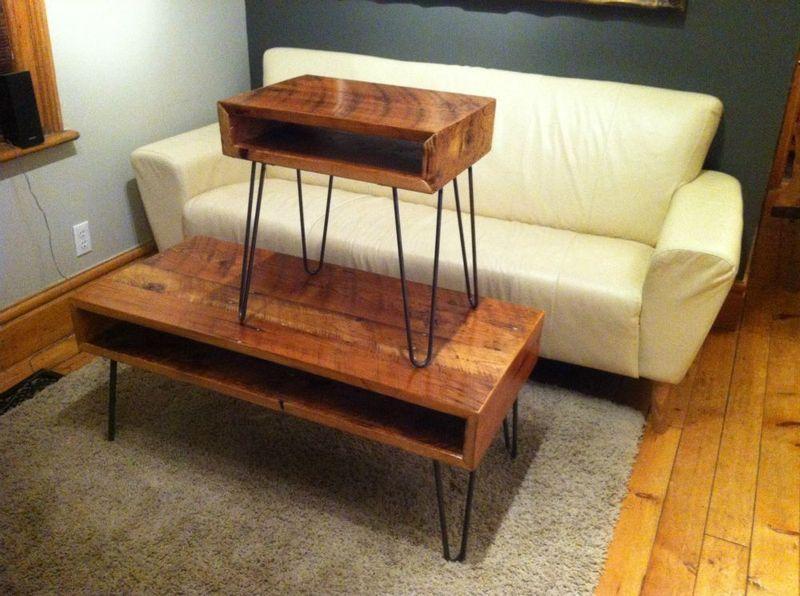 Kijiji reclaimed pine coffee table with hairpin legs