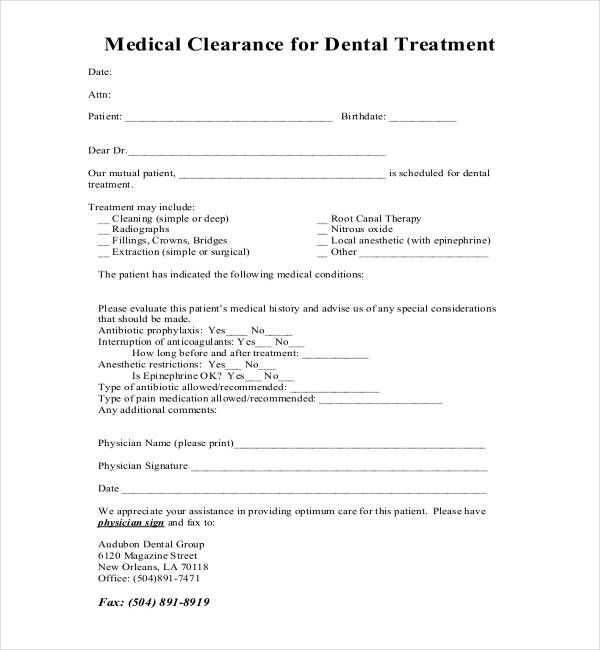 Medical Clearance Form For Dental Treatment  Medical Form