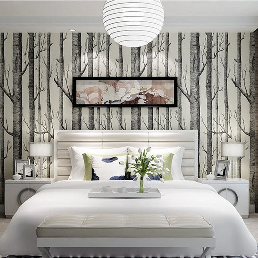 Birch Tree Wallpaper Bathroom Accent Wall: Woodsy Wallpaper In A Half Bath - Google Search